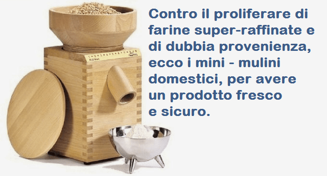 Contro il proliferare di farine super-raffinate e di dubbia provenienza, ecco i mini – mulini domestici, per avere un prodotto fresco e sicuro.