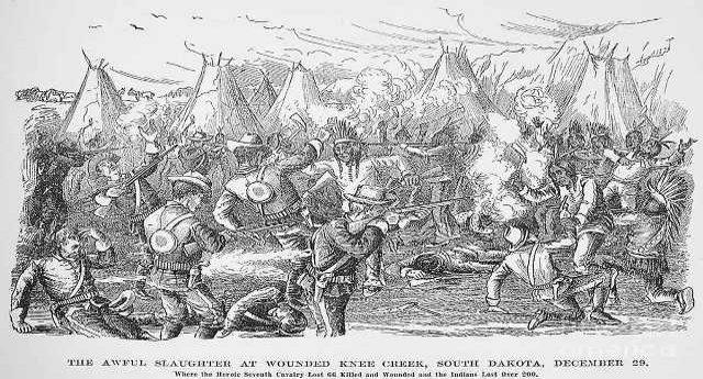 29 dicembre 1890 – Lo sterminio di Wounded Knee: l'ultima strage di pellirosse – Quando gli indiani del capo Big Foot sventolando, disarmati, bandiera bianca furono MASSACRATI dal glorioso esercito degli Stati Uniti – E parliamo di uomini, donne, bambini e anziani!!