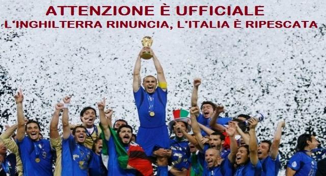 ATTENZIONE – È ufficiale: l'Inghilterra questa notte ha formalizzato la clamorosa rinuncia, per motivi politici, alla partecipazione ai prossimi Mondiali in Russia – L'Italia è RIPESCATA!